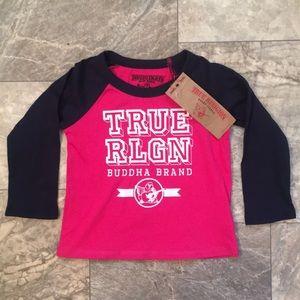 🆕Kids True Religion Pink Logo Raglan Baseball T